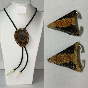 Snakeskin Bolo Tie Matching Collar Tips